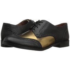 Cole Haan Jagger Wing Oxford (Black/Gold Leather) Women's Shoes ($200) ❤ liked on Polyvore featuring shoes, oxfords, wing tip shoes, platform oxford shoes, gold shoes, black oxfords and black wingtip shoes
