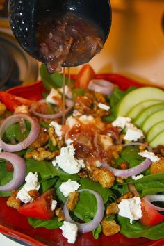 Spinach Salad with Hot Bacon Mustard Vinaigrette and Candied Walnuts