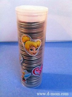 Recycling used glucose tab containers with quarters and pennies for penny smashing souvenir machines. Disney Smashed Pennies -  http://www.d-mom.com/from-the-archives-137