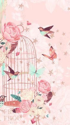 Birds iPhone X Wallpaper 297096906666815948 Bird Wallpaper, Trendy Wallpaper, Pretty Wallpapers, Vintage Wallpapers, Flower Backgrounds, Wallpaper Backgrounds, Cellphone Wallpaper, Iphone Wallpaper, Illustration