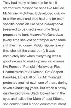 Nicknames the Marauders gave McGonagall
