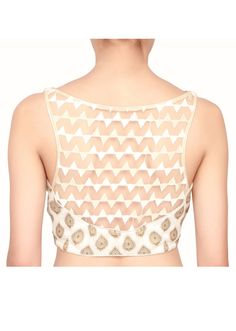 Sleeveless georgette blouse in cream color with netted neck only on Kalki - Kalkifashion.com