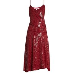 Diane Von Furstenberg Brenndah dress (£615) ❤ liked on Polyvore featuring dresses, red, red cocktail dress, v-neck dresses, red sequin cocktail dress, v neck cocktail dress and v neck sequin dress