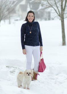 Winter Outfit Ideas: Snow Day! Navy @jcrew Cambridge Cable Turtleneck with @dl1961 Florence Skinny Jeans in Milk and @sorel Tofino Cate snowboots c/o @zappos. Add a bright pink @toryburch tote for fun! | Fashion Over 40 | White Jeans for Winter - Click through for shopping links!
