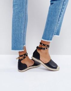 Truffle Collection Stud Ankle Espadrille