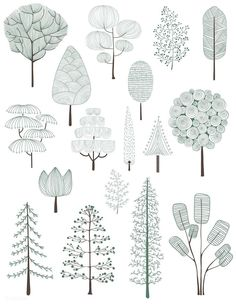 Illustration de la collection d'arbres de pins | image gratuite par rawpixel.com  #arbres #collection #gratuite #illustration #image #rawpixel #vegetationArchitecture