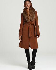 Ellen Tracy Belted Wool Maxi Coat with Fur Trim | Bloomingdale's