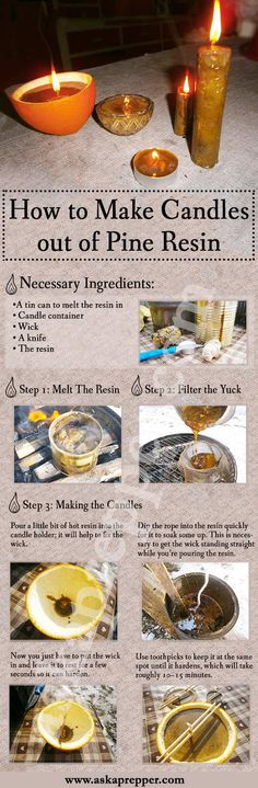 DIY step by step Candles out of Pine Resin Infografic AKSAPREPPER By Arminius The pine tree is one of the most overlooked natural resources as it has multiple survival uses. The entire tree is edible, from the bark to the pine Survival Life Hacks, Survival Prepping, Survival Skills, Emergency Preparedness, Survival Stuff, Survival Videos, Survival Books, Survival Gear, Tin Candles