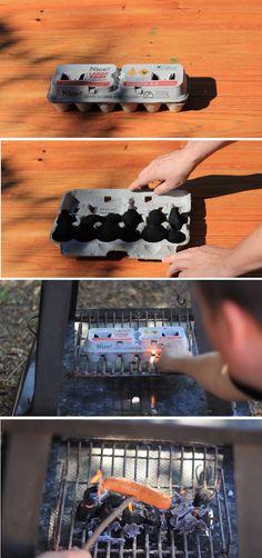 Tip de supervivencia super práctico -  ¿Necesitas conseguir fuego para cocinar con el mínimo esfuerzo? Consigue un cartón de huevos y coloca carbón en los huecos. Cierra el cartón, enciende una esquina y disfruta.