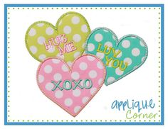 921 Tick Tack Love Valentines Dayapplique digital design for embroidery machine by Applique Corner    Design as shown above in sizes 4 x 4,