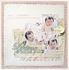 A Project by yuko tanaka from our Scrapbooking Gallery originally submitted at AM Baby Journal, Baby Scrapbook, Cherry Blossom, Mixed Media, How To Memorize Things, Memories, Scrapbooking, Gallery, Frame