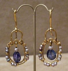 Gold Earrings with Pearls and Sapphires  Byzantine, found in 1902 at Karavas, Cyprus  Made 500-700    Accession # 17.190.145, .146