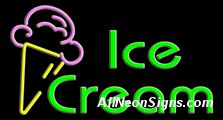 "Neon Sign - ICE CREAM-10410-4108  37"" Wide x 20"" Tall x 3"" Deep  110 volt U.L. 2161 transformers  Cool, Quiet, Energy Efficient  Hardware & chain are included  6' Power cord  For indoor use only  1 Year Warranty/electrical components  1 Year Warranty/standard transformers."