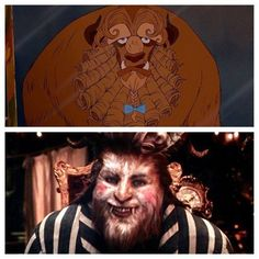 Beauty and the Beast Then(1991) and Now (2017) Beast getting ready