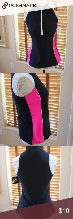 Swim Suit zipper Top Swim Suit top with white Zipper.  Missy Size 14 from Kmart.   New with Tags. Black with Fuchsia Pink Stripes down sides. Athletech Swim One Pieces