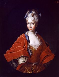 Charlotte Christine Sophie of Brunswick-Lüneburg (1694-1715) – the wife of Tsarevich Alexei Petrovich of Russia. This portrait was apparently painted by one of the court artists of Augustus the Strong. It is the earliest known portrait of Charlotte Christine and there is a possibility that it was painted in connection with her upcoming wedding to Tsarevich Alexei in 1711.