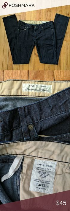 """Rag & Bone midrise dark navy straight leg jeans EUC jeans in a thin stretch denim with center seams running down the front and back of each leg. Approximately 32.5"""" inseam, 8"""" rise, and 16.5"""" across waist. rag & bone Jeans Straight Leg"""