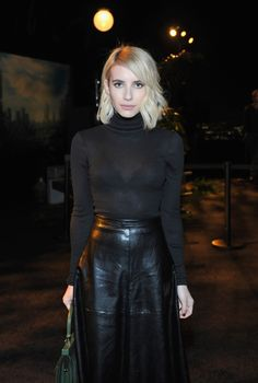 The Most Flattering Going-Out Look: Thank You, Emma Roberts Beautiful Celebrities, Gorgeous Women, Amazing Women, Emma Roberts Style, Black Leather Skirts, Black Leather Skirt Outfit Going Out, Night Outfits, Outfit Night, Skirt Fashion
