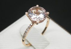 Engagement Ring -  2 Carat Morganite Ring With Diamonds In 14K Rose Gold on Etsy, $899.00