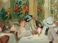 "Charles Hoffbauer, ""Dinner at Delmonico's, New York"". http://www.markmurray.com/printimage.html?image_no=315"