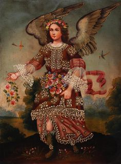 Archangel Barachiel - Cuzco Peru Folk Art Oil Painting