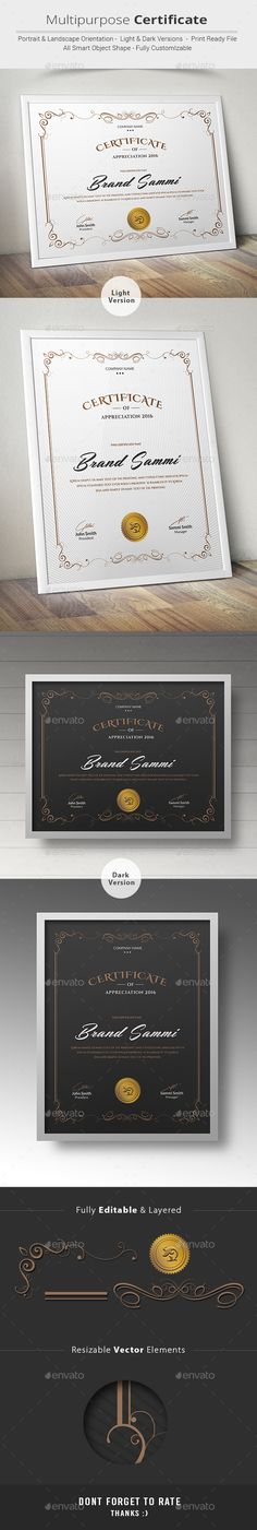 Buy Certificate by on GraphicRiver. This Multipurpose Certificates is Customizable and ready to print. A help file is included with the main file. Certificate Of Appreciation, Certificate Of Achievement, Award Certificates, Certificate Design, Certificate Templates, Design Poster, Book Design, Branding, Frame Template