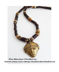 Mens african necklace african adinkra wood beaded necklaces african necklace face pendant beaded jewelry brass wood beads bronze brown ethnic africa afrocentric fair trade beads women men unisex aloadofball Image collections