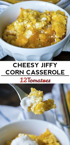 Cheesy Jiffy Corn Casserole-This recipe looks delicious! I think I would add a bit of sugar to the casserole and a tad more cheese. Someone also suggested stirring in the cornbread as opposed to spooning it on the top. Corn Recipes, Side Dish Recipes, Vegetable Recipes, Great Recipes, Favorite Recipes, Macaroni Recipes, Chicken Recipes, Corn Casserole, Party