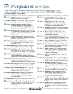 Liste de planification du ménage en 30 jours