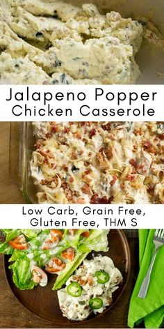 Jalapeno Popper Chicken Casserole - Low Carb, THM S Chicken in a creamy cheesy sauce with pieces of jalapeno and loads of bacon. One of the best casseroles ever. via @joyfilledeats