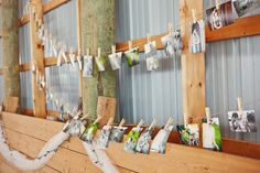Pictures of the couple hung from a clothes line at the reception