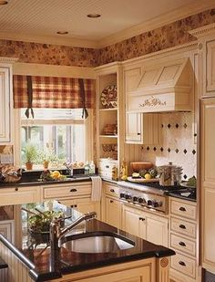 kitchen i love the wallpaper around the top charming shabby chic kitchen