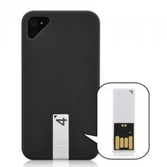 Matte Smooth Hard Case Cover with 4GB USB Flash Drive For iPhone 4/4S - Black
