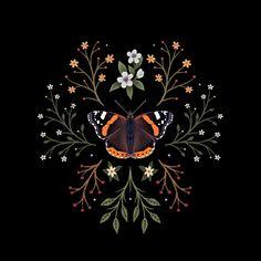 Red Admiral Botanical Butterfly Art Print by thistlemoon Butterfly Illustration, Illustration Artists, Illustrations, Butterfly Art, Butterflies, Iphone Skins, Horse Art, Art Sketchbook, Art Inspo
