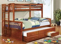 Furniture of America Pammy Twin over Queen Bunk Bed, Oak ...