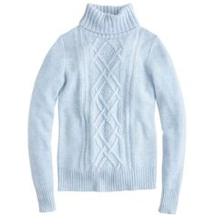 J.Crew Cambridge Cable Turtleneck Sweater ($98) ❤ liked on Polyvore featuring tops, sweaters, shirts, long sleeves, cable-knit sweater, turtleneck shirt, j crew sweaters, turtleneck long sleeve shirt and blue long sleeve shirt