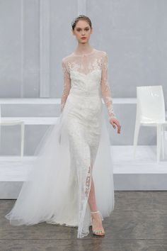 """""""Fabienne"""" Ivory long sleeve embellished column gown with front slit and tulle overskirt - ML"""
