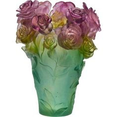 Rose Passion Large Green and Pink Vase, 14 in
