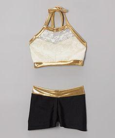 Look at this #zulilyfind! Cream & Gold Lace Halter Sports Bra & Shorts - Girls by Elliewear #zulilyfinds