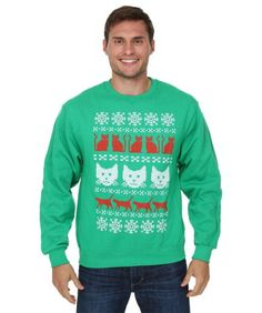 Ugly Christmas Sweater Kitty Pattern Mens Sweater: Wear this kitty pattern sweater at your next ugly… #TShirts #CustomShirts #BandTees
