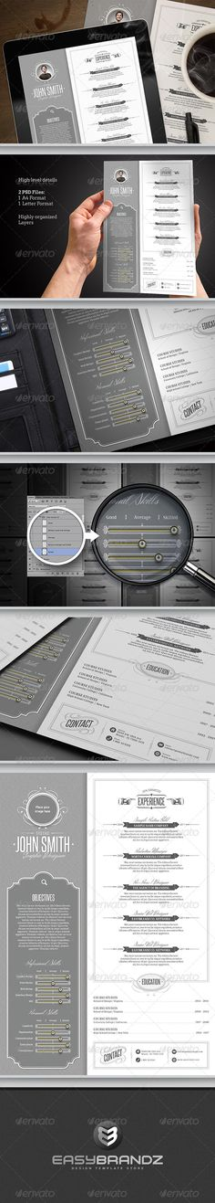 Retro Resume Template #GraphicRiver This resume was designed to make you stand out from the competition. Professional, creative, innovative and objective, they reflect the profile that employers seek when they look for a profissional. Highly easy to edit, change colors and fonts. Make a difference! Features: 2 Resume design (Built in US Letter Sized & A4 format) Each layer has its own name for your convenience. The template is much easier to edit. All Paragraph/Character/Objects Styles and…