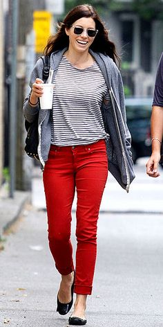 61193a35d041 Red jeans style inspiration from Jessica Biel.