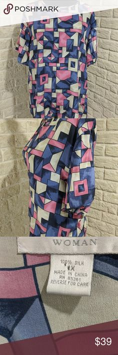 """Dress Barn Silk Abstract Print Blouse sz 1X Dress Barn Silk Blouse Blouse Blue Print Women Sz 1x Tunic Shirt Abstract Print2 Side Vents 2 Cover Buttons Back Neck Measurements are approximate when flat (double when applicable): Bust - 48"""" Shoulder to Shoulder - 18"""" Total Length - 25"""" Underarm to Underarm - 24"""" Waist - 46"""" Dress Barn Tops Blouses"""