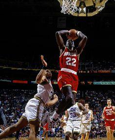 "On this date in the retired Clyde ""The Glide"" Drexler's jersey. Nba Players, Basketball Players, Basketball Court, Utah Jazz, Derrick Rose, Slam Dunk, Lebron James, Michael Jordan, Clyde Drexler"