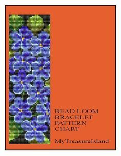 For sale is Bead Loom or Drop Peyote Bracelet Floral Violets Pattern in PDF format.  This design can be done with LOOM or PEYOTE technique. You