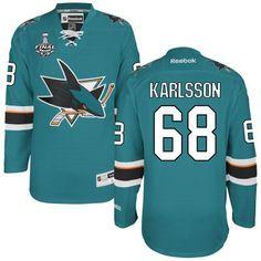 Men's San Jose Sharks #68 Melker Karlsson Teal Blue 2016 Stanley Cup Home NHL Finals Patch Jersey