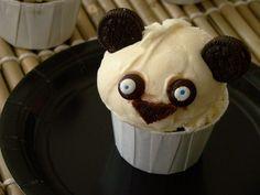 Kung Fu Panda Chocolate Cupcakes w/ scoop of ice cream!   :)