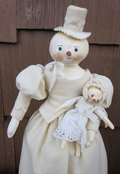 Fabulous snow woman with snow baby created by Evi!