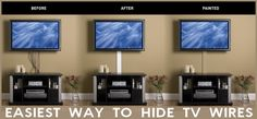 Can't hide TV wires in the wall? Here is the easiest way to hide flat panel TV wires and cords for under $20 dollars! Read more: http://removeandreplace.com/2014/07/02/hide-tv-wires-how-to-the-easy-way/#ixzz36L6MQVKf