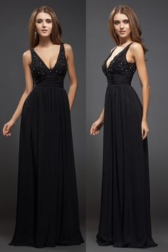 Sleek Beading Low V-neck Chiffon Black A-line Evening Dress #Black Evening Dress#
